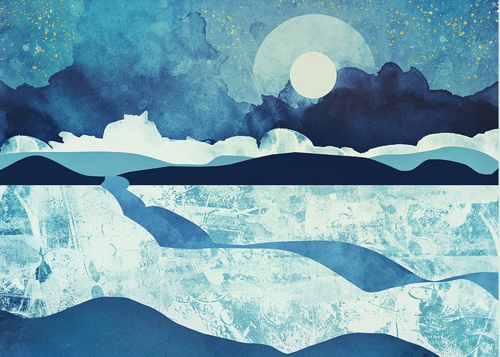 Blue Greeting Card featuring the digital art Blue Desert by Spacefrog Designs