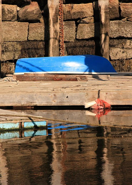 Saescape Greeting Card featuring the photograph Blue Dingy by Doug Mills