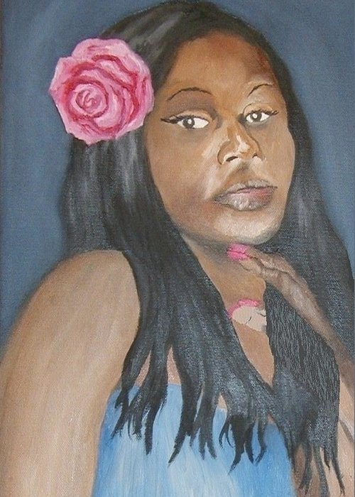 African American Greeting Card featuring the painting Blue Diva by Angelo Thomas