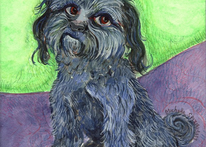 Dog Portraits Greeting Card featuring the painting Blue Dog by Michelle Spiziri