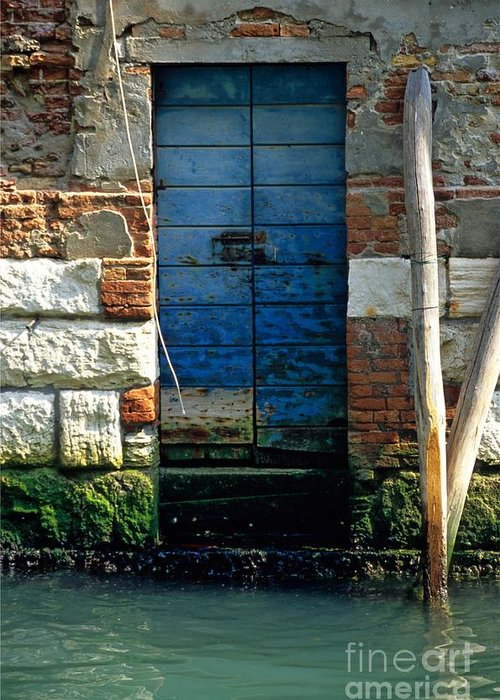 Venice Greeting Card featuring the photograph Blue Door In Venice by Michael Henderson