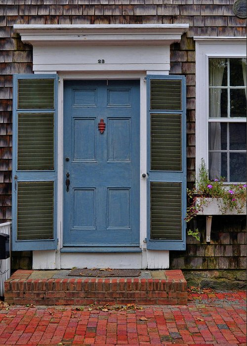 Nantucket Greeting Card featuring the photograph Nantucket Blue Door by JAMART Photography