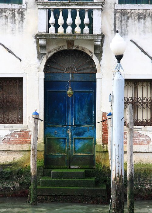 Venice Greeting Card featuring the photograph Blue Door on Grand Canal in Venice by Michael Henderson