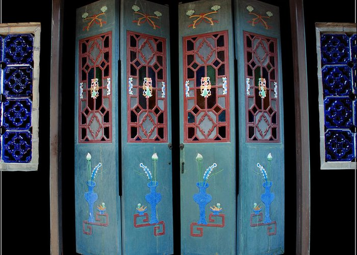 Culture Door Color Blue China Ancient Old Greeting Card featuring the photograph Blue Doors by Ty Lee