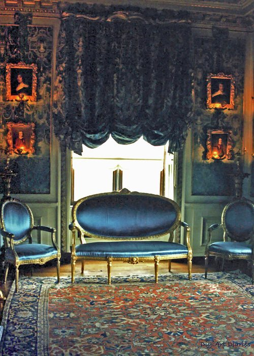 Castle Greeting Card featuring the digital art Blue Drawing Room by DigiArt Diaries by Vicky B Fuller