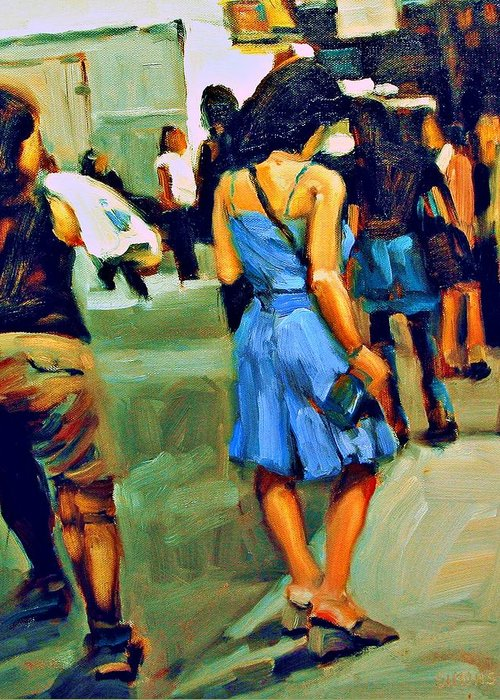 Landscape Greeting Card featuring the painting Blue Dress by Brian Simons