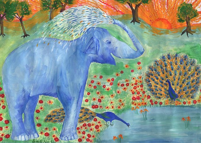 Elephant Greeting Card featuring the painting Blue Elephant Squirting Water by Sushila Burgess