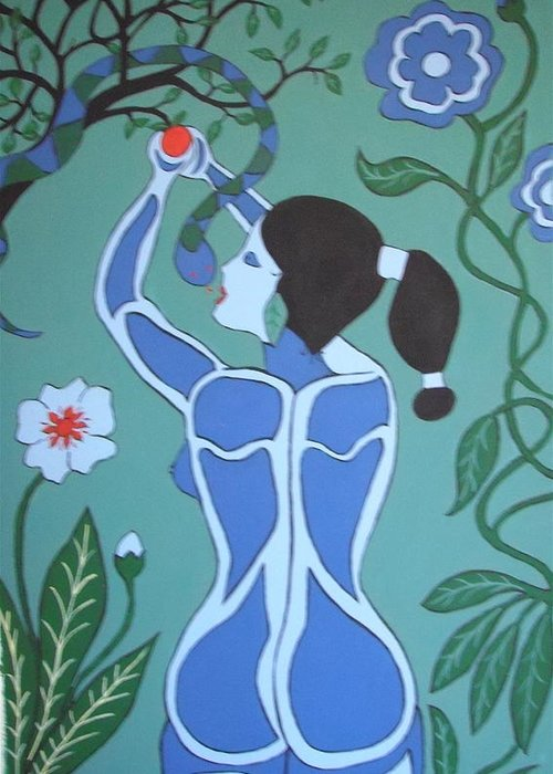 Eve Greeting Card featuring the painting Blue Eve No. 1 by Stephanie Moore