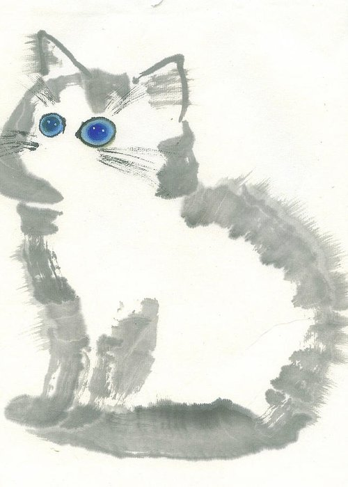 Blue-eye Kitten Sitting Still. This Is A Contemporary Chinese Ink And Color On Rice Paper Painting With Simple Zen Style Brush Strokes.  Greeting Card featuring the painting Blue-eye by Mui-Joo Wee