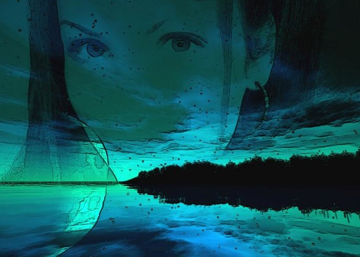 Water Greeting Card featuring the digital art Blue Eyes At Night by Jon Palm