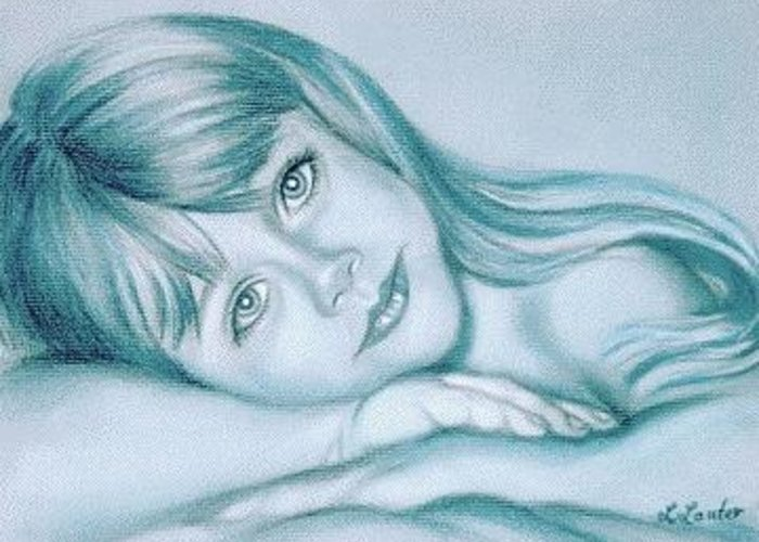 Portrait Commission Greeting Card featuring the drawing Blue Eyes by L Lauter
