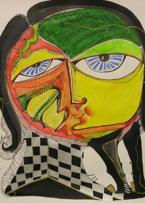 Abstract Greeting Card featuring the painting Blue Eyes Yellow Face by Jimmy King
