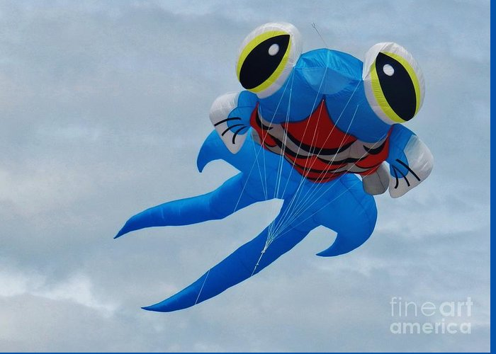 Blue Fish Greeting Card featuring the photograph Blue Fish Kite by Snapshot Studio
