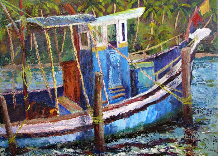 Fishing Greeting Card featuring the painting Blue Fishing Boat by Art Nomad Sandra Hansen