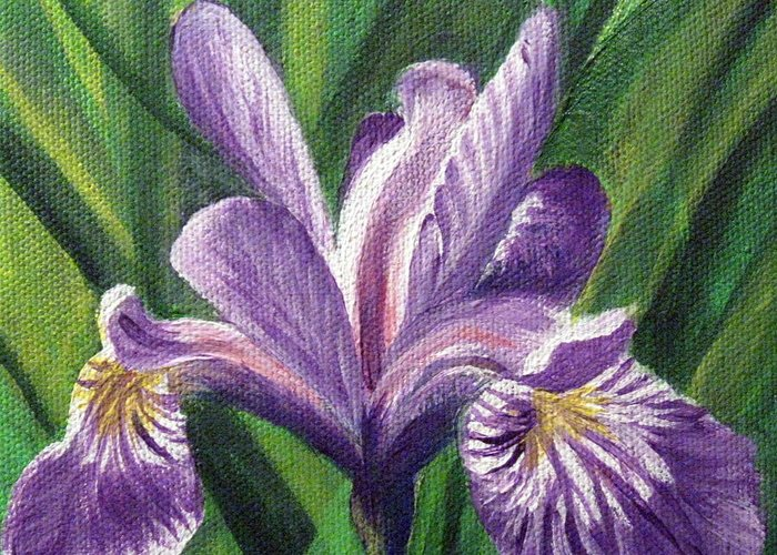Blue Flag Iris Greeting Card featuring the painting Blue Flag Iris by Sharon Marcella Marston