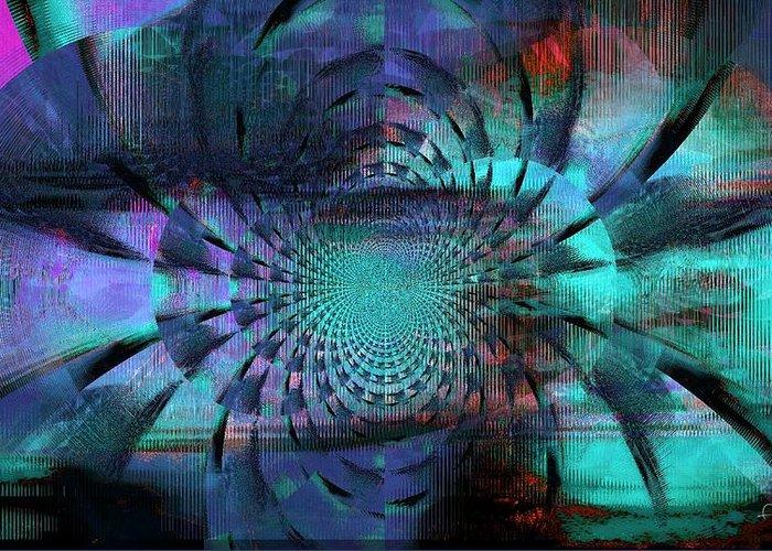 Faniart Greeting Card featuring the mixed media Blue Fleur by Fania Simon