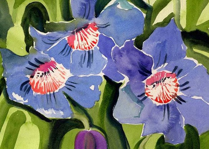 Blue Greeting Card featuring the painting Blue Floral by Janet Doggett