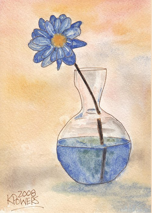 Flower Greeting Card featuring the painting Blue Flower And Glass Vase Sketch by Ken Powers