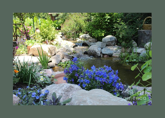 Blue Greeting Card featuring the painting Blue Flowers And Stream by Corey Ford