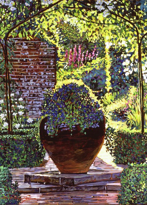 Gardens Greeting Card featuring the painting Blue Flowers by David Lloyd Glover