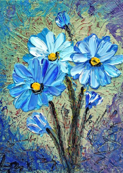 Flowers Greeting Card featuring the painting Blue Flowers by Luiza Vizoli