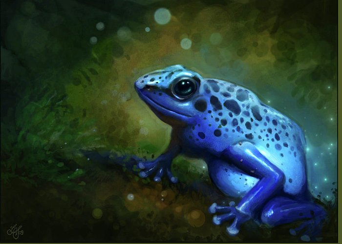 Frog Greeting Card featuring the painting Blue Frog by Caroline Jamhour