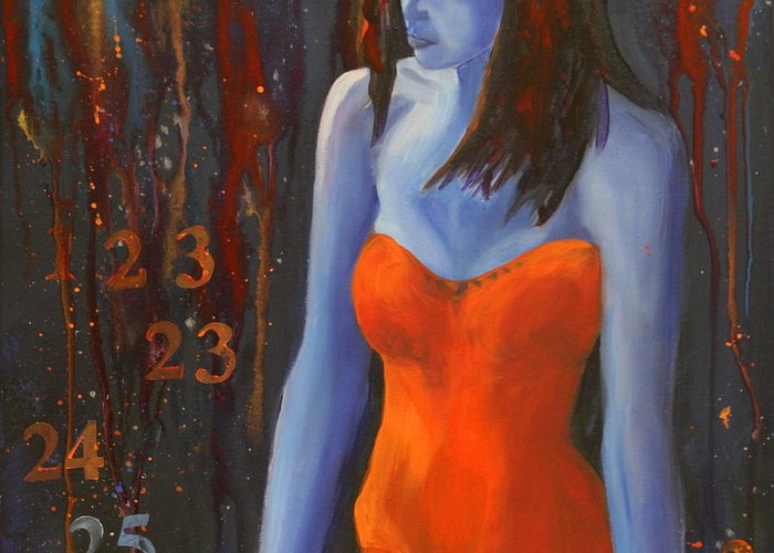 Woman Greeting Card featuring the painting Blue Girl In Red Dress by Lynn Chatman