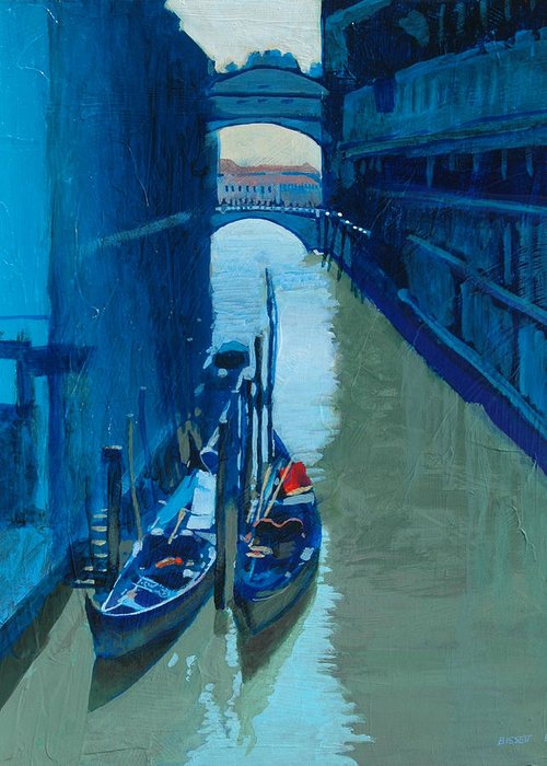 Italy Greeting Card featuring the painting Blue Gondolas by Robert Bissett