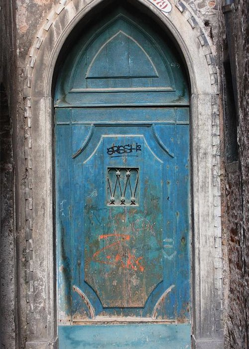 Venice Greeting Card featuring the photograph Blue Gothic Door In Venice by Michael Henderson