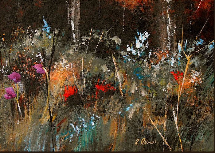 Abstract Greeting Card featuring the painting Blue Grass And Wild Flowers by Ruth Palmer