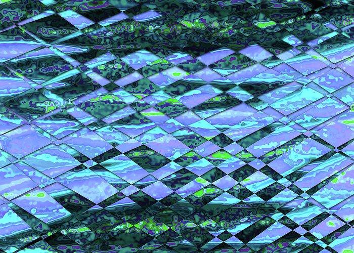 Blue Greeting Card featuring the digital art Blue Green Ocean Abstract by Ludek Sagi Lukac