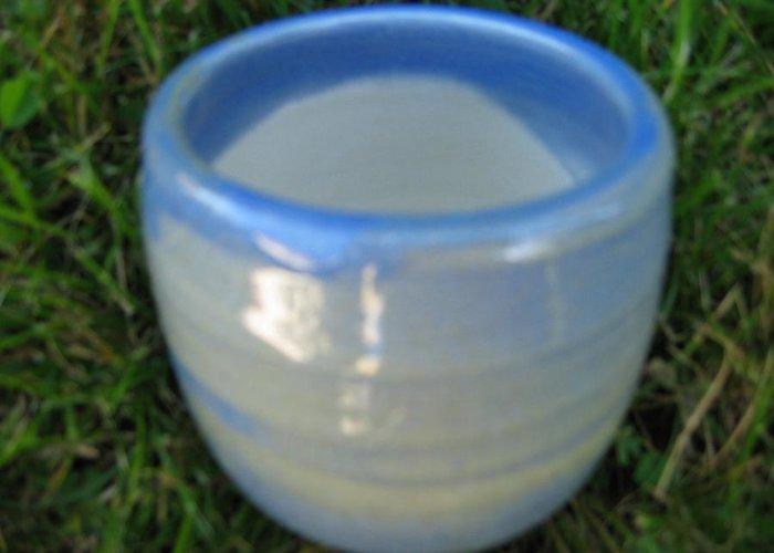 Vase Greeting Card featuring the ceramic art Blue Green Vessel by Julia Van Dine