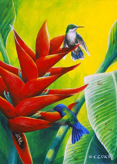 Chris Cox Greeting Card featuring the painting Blue-headed Hummingbirds And Heliconia by Christopher Cox