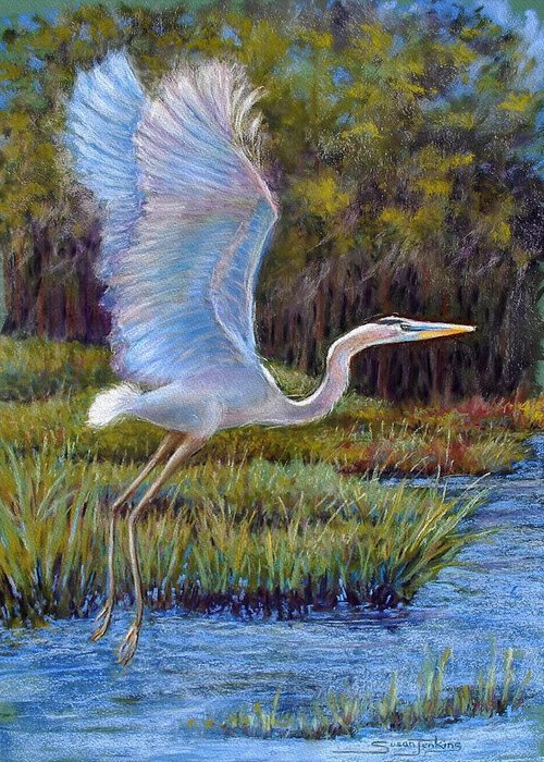 Landscape Greeting Card featuring the pastel Blue Heron In Flight by Susan Jenkins