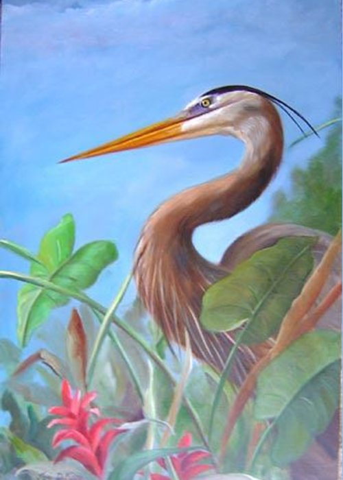 Wildlife Greeting Card featuring the painting Blue Heron by Joni Dipirro
