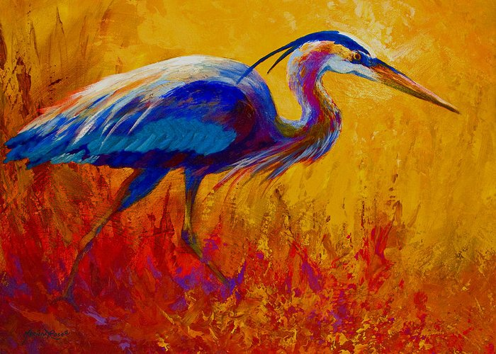 Heron Greeting Card featuring the painting Blue Heron by Marion Rose