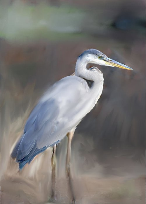 Painting Blue Heron Iii Greeting Card featuring the painting Blue Heron Painting by Don Wright