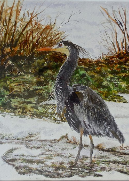 Watercolour Painting Greeting Card featuring the painting Blue Heron by Sher Nasser