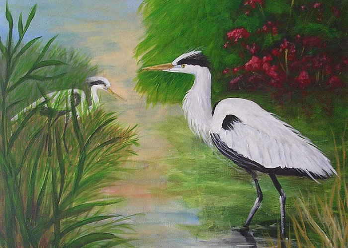 Heron Greeting Card featuring the painting Blue Herons by Barbara Harper