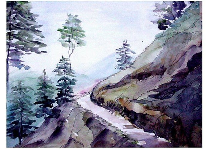 Landscape Greeting Card featuring the painting Blue Hills by Anil Nene