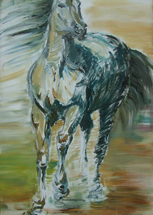 Horse Greeting Card featuring the painting Blue Horse by Edyta Loszakiewicz