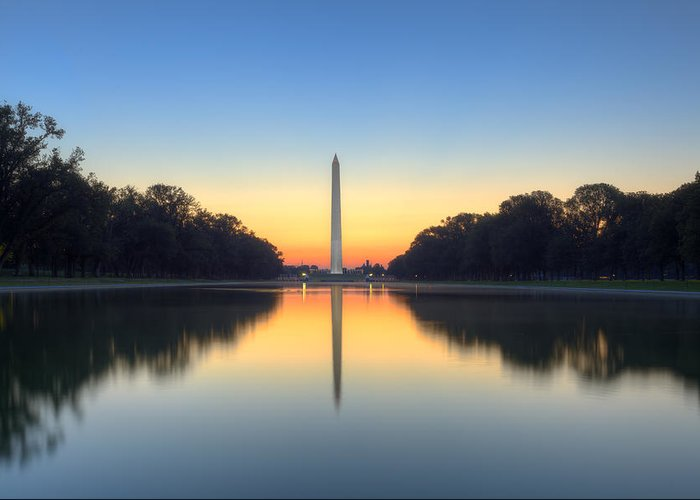 Washington Monument Greeting Card featuring the photograph Blue Hour At The Mall by Edward Kreis