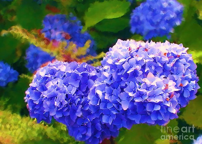 Blue Hydrangea Greeting Card featuring the painting Blue Hydrangea by Methune Hively