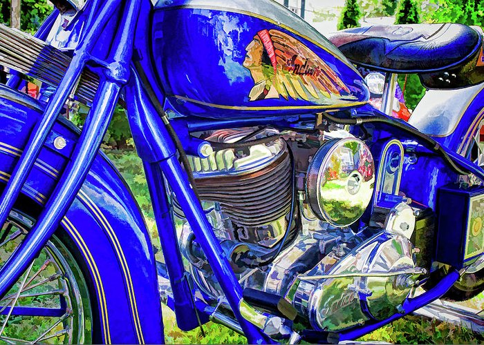 Motorcycle Greeting Card featuring the photograph Blue Indian by Dave Thompsen