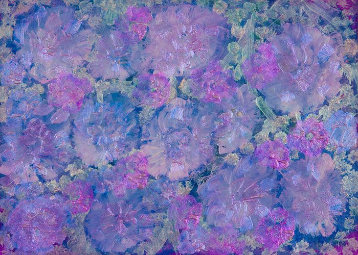 Acrylic Paint Greeting Card featuring the painting Blue Iridescent by Don Wright