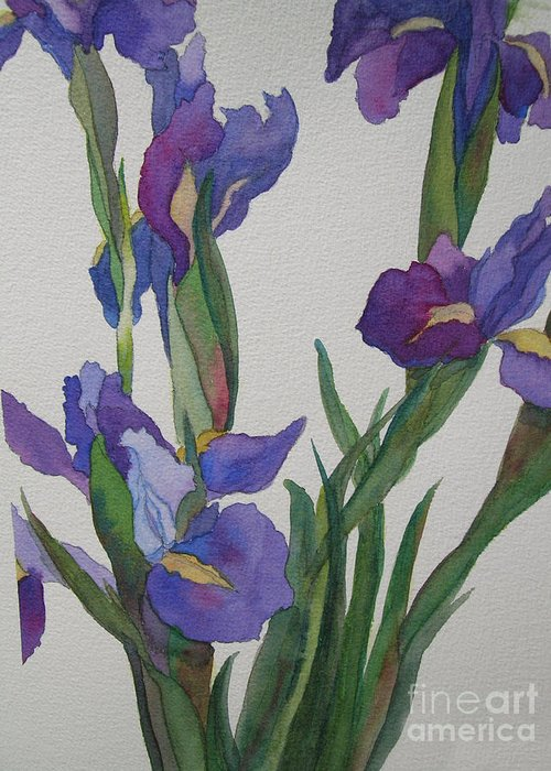 Blue Greeting Card featuring the painting Blue Iris by Jeff Friedman