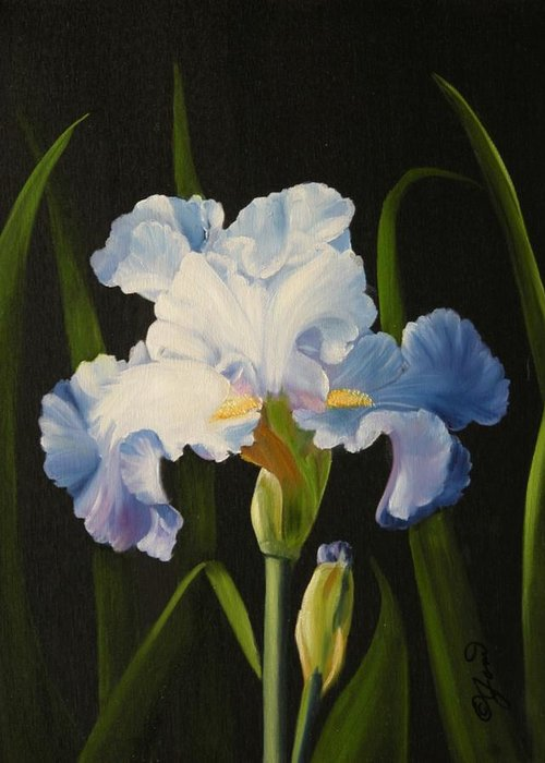 Flower Greeting Card featuring the painting Blue Iris by Joni McPherson