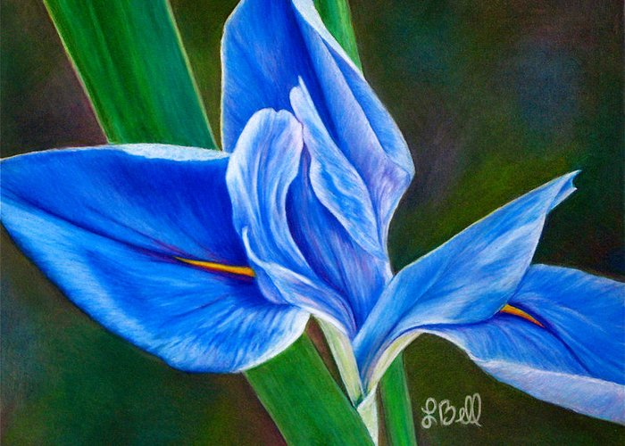 Iris Greeting Card featuring the painting Blue Iris by Laura Bell