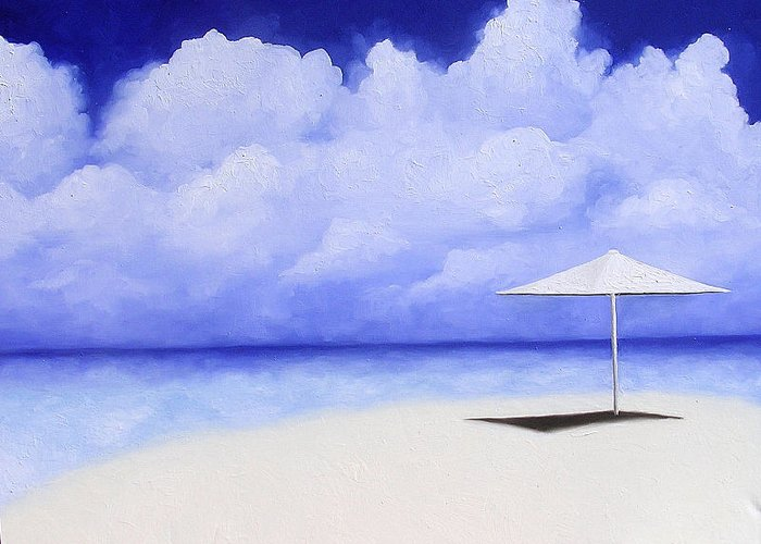 Seascape Greeting Card featuring the painting Blue Isolation by Trisha Lambi