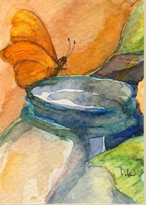 Still Life With Butterfly Greeting Card featuring the painting Blue Jar And Butterfly by Nancy Watson